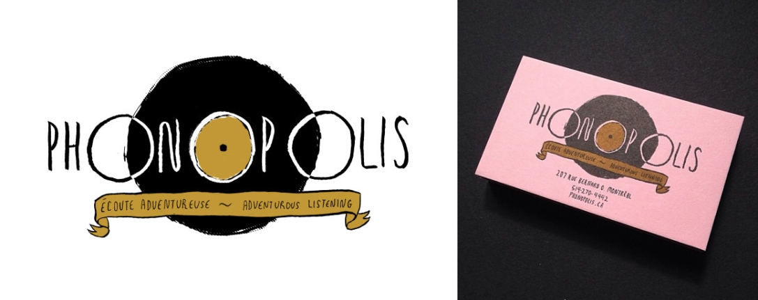 Two-colour risograph business cards, 2014. For Phonopolis Record Store in Montreal.